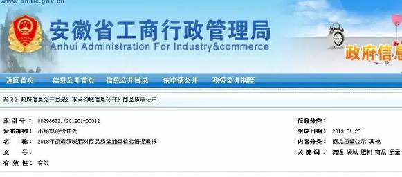 安徽省大批肥料抽检质量不合格!名单公布,都有哪些产品?哪些企业?
